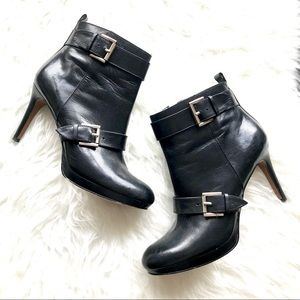 Nine West Buckled Black Leather Ankle Booties